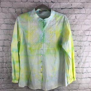 Isabella Bird Tie Dye Embroidered Cotton Blouse